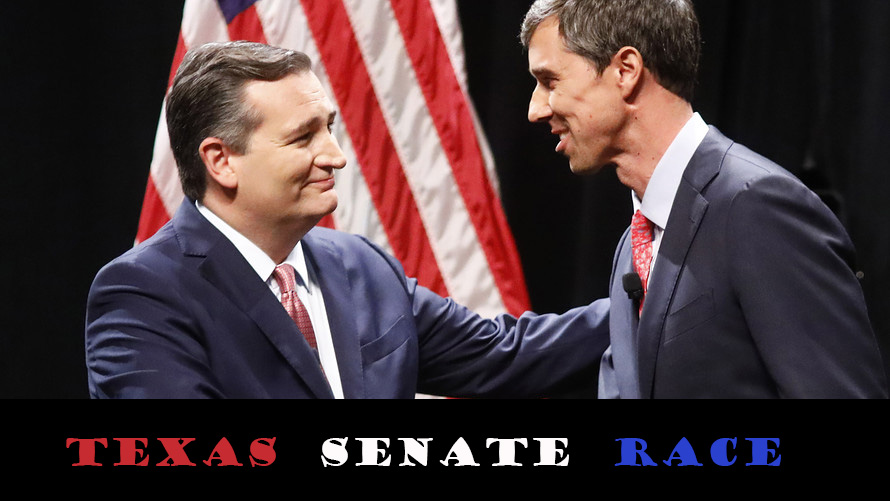 Ted Cruz (left) shakes hands with Beto O'Rourke (right) before debating at Southern Methodist  University.
